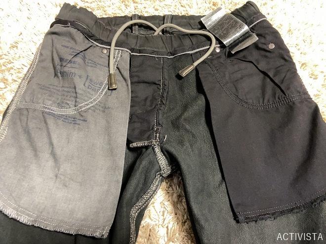 2回目の黒染め作業をしたチノパンの両サイドポケット他裏返し画像