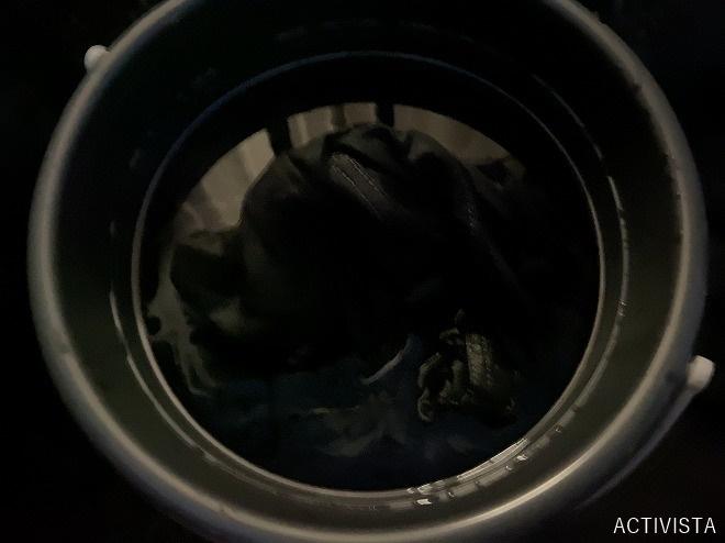ダイロンマルチのエボニーブラックを混ぜた9Lバケツの黒い水