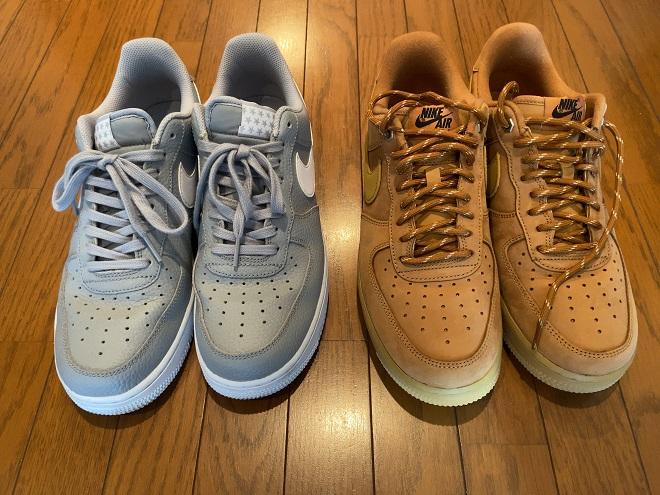 エアフォース1グレー(左)とエアフォース1ウィート(右)の画像