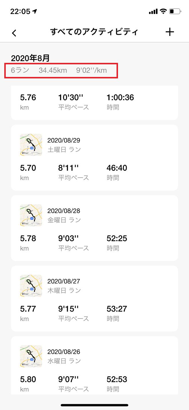 NRCの2020年8月のジョギング履歴