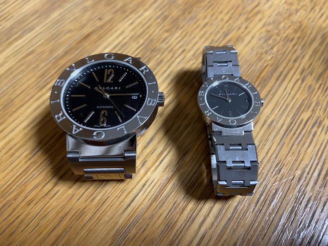 メンズのブルガリ ブルガリ(左)とかみさん私物のレディースのブルガリ ブルガリ(右)