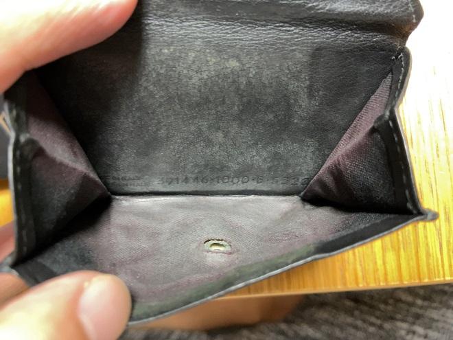 バレンシアガの使い古した財布ペーパーの小銭入れ部分