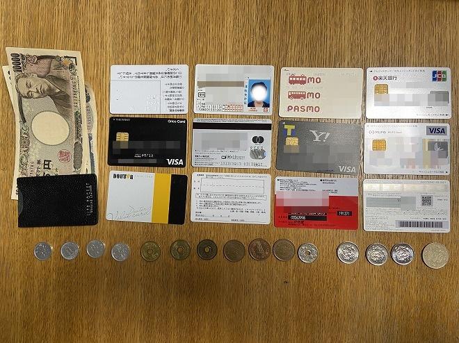 カード12枚、硬貨15枚、お札4枚、LIFEPOCKETのSDカードケース1枚を並べた画像