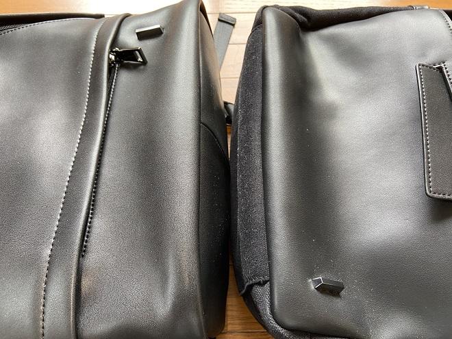 TSOGのTHE ONE(左)とMUKO(右)のフロントポケット収納部を比較した画像
